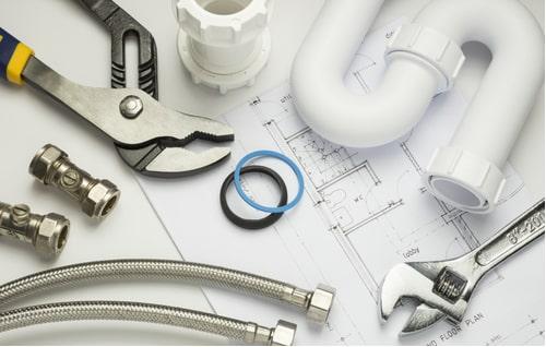 plombier perpignan - matériel de plomberie sur un plan